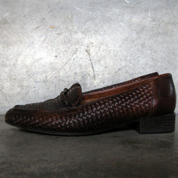 Vintage Sesto Meucci Dark Brown Woven Leather Loafers: Size 8 M