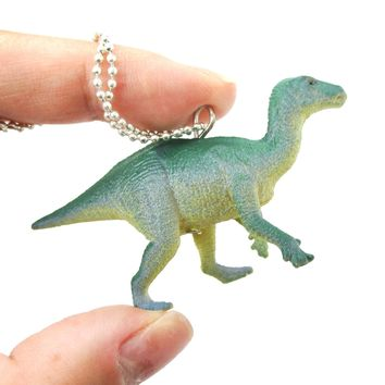 Ornithomimus Dinosaur Shaped Figurine Pendant Necklace in Green Blue | Animal Jewelry