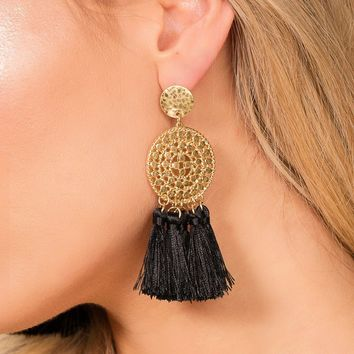 Naomi Black Tassel Earrings