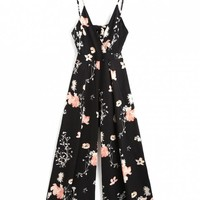 Cami Tied Cut Out Floral Jumpsuit