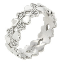 Lucky Clover Hearts Sterling Silver Ring