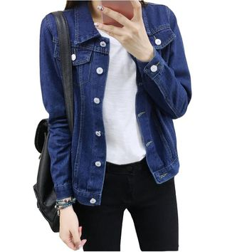 S-XXL 2017 New Women Bomber Denim Jacket Vintage Harajuku Loose Jeans Jackets Female Korean Style Coat Casual Outwear Plus Size
