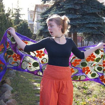 Nuno felted scarf, long purple and gray silk shawl with decorative floral motif . OOAK