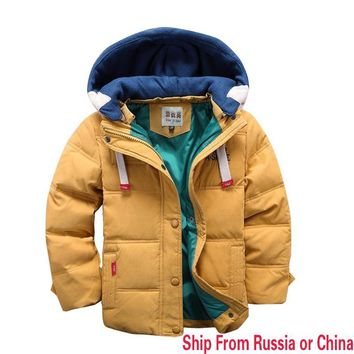 Ship from russian New children Down & Parkas winter kids outerwear boys casual warm hooded jacket for boys solid boys warm coats