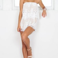 Dreamlover playsuit in white lace Produced By SHOWPO