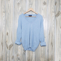 Vintage Soft V-Neck Baby Blue Oversized Sweater