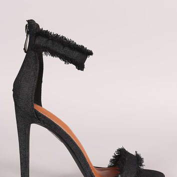 Frayed Denim Open Toe Stiletto Heel