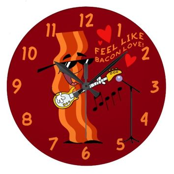 Funny Bacon Lovers Large Clock