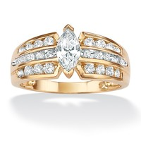 .66 TCW Marquise-Cut and Round Cubic Zirconia 10k Yellow Gold Engagement Anniversary Triple-Row Ring