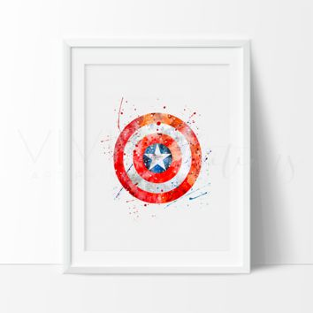 Captain America Shield Watercolor Art Print
