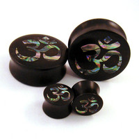 "Abalone Om Inlay in Ebony Wooden Plugs - 00g (10mm) 7/16"" (11mm) 1/2"" (13mm) 9/16"" (14mm) Organic Wood Ohm Ome Ear Gauges"