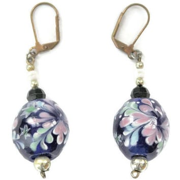 Long Cobalt Blue Glass Bead Earrings, With Pink Flower Design