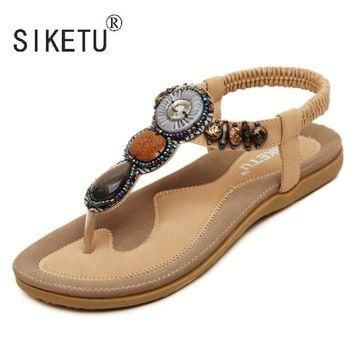 2017 New Korean Comfortable Women Sandals Bohemian String Bead Clip Toe Flat Shoes San