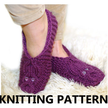 The owl knitted slippers pattern, women slippers knitting pattern, instant download knitting pattern