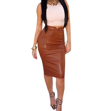 Women Fashion  Solid Pu Leather Badycon Skirt Ladies High Waist Pencil Skirt Black Color pencil skirt Saias Femininas SM6