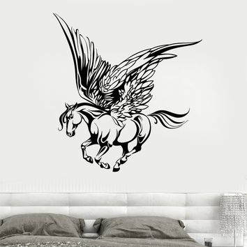 Vinyl Wall Decal Fairy tale Pegasus Horse Wings Muse Fantasy Animal Stickers Unique Gift (1813ig)