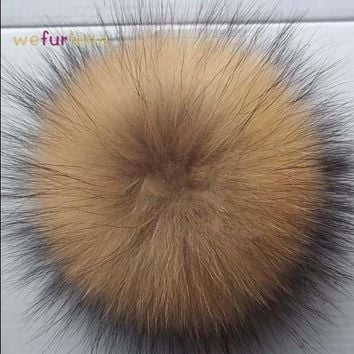 PEAPU3S 15cm 100% Real Raccoon Fur Pompoms luxurious fur balls Genuine Fur Pom Pom for Bag Hats Cap Scarf Gloves Attached the Hasp