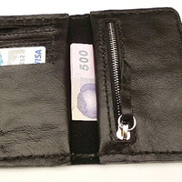 Black balong leather mans wallet