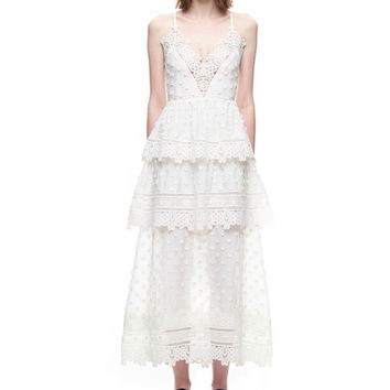 High-end custom self portrait style 2017 summer spring fashion runway Lace embroidery sexy backless white long party dresses