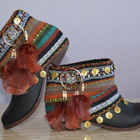 ETHNIC, HIPPIE, BOHO boots, Tribal, Gypsy, Women, Multicolor Boots, Bohemian Boots, Made to order in your size with some variations
