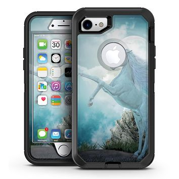 Majestic White Stallion Unicorn Rearing in Triump over Enemies Before the Light of a Full Moon on a Mid Summer's Night - iPhone 7 or 7 Plus OtterBox Defender Case Skin Decal Kit