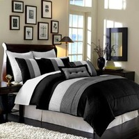 "Legacy Decor 8pcs Modern Black White Grey Luxury Stripe Comforter (90""x92"") Set Bed in Bag - Queen Size Bedding"