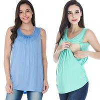 USA Women Nursing Tops Breathable Breastfeeding Clothes Sleeveless Vest Blouse