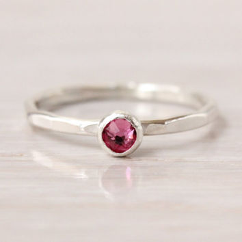 October birthstone ring, mothers ring, sterling silver, stacking ring, 4 mm Swarovski Rose crystal, handmade, gift for mom, birthday