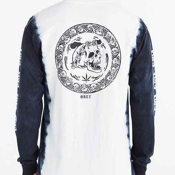 OBEY Death Queen Tie-Dye Long-Sleeve Tee- Black & White