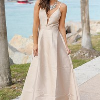Taupe Dress with Open Back