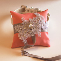 Blush and Gray Victorian Ring Bearer Pillow, Pet wedding, victorian floral wedding