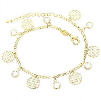Gold Layered 03.63.1278.08 Charm Bracelet, Filigree Design, with White Cubic Zirconia, Polished Finish, Golden Tone