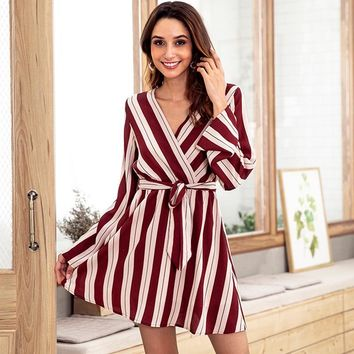 DeRuiLaDy 2018 New Fashion Women Autumn Winter Striped Mini Dress Sexy V Neck Long Sleeve Lace Up Dresses Ladies Casual Dress