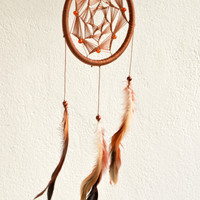 Brown Dreamcatcher Mandala with Red Carnelian gemstone beads, wall hanging