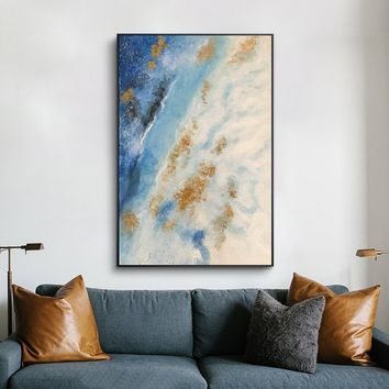 Modern Abstract acrylic painting on canvas blue texture extra large wall art original painting hand painted Home decor cuadros abstractos