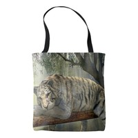 White tiger chilling in the jungle tote bag