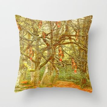 Hanging by a thread Throw Pillow by Monjii Art