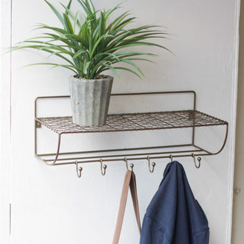 Antique Brass Shelf with Coat Hooks