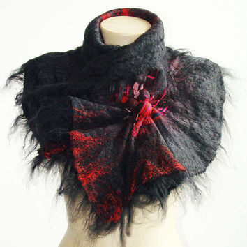 Red and Black Felted  Scarf Wool Silk Art wrap shawl scarf shibori  Alpaca and silk Very soft and light.