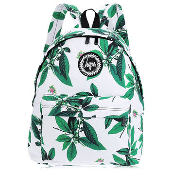 2016 Fresh Girl Backpack Preppy Style Women Leaf Flower Print Rucksack Portable Green Canvas Bagpack School Casual Travel Bags