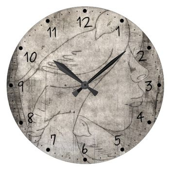Print of a girl large clock