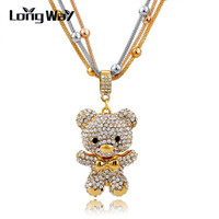 Fashion MultiLayer Necklace Gold For Women 2016 Crystal Bear Pendant Beads Long Necklace Jewelry Statement Necklace SNE150786