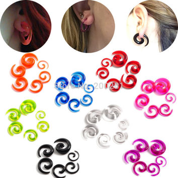 12Pcs/set Acrylic Spiral Ear Stretching Tapers Body Jewelry Acrylic Ear Tapers Fake Ear Expander Plug Tunnel Kit espirais orelha