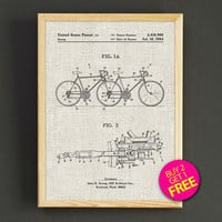 Tandem Bicycle Patent Print Tandem Bike Blueprint Poster House Wear Wall Art Decor Gift Linen Print - Buy 2 Get FREE - 295s2g