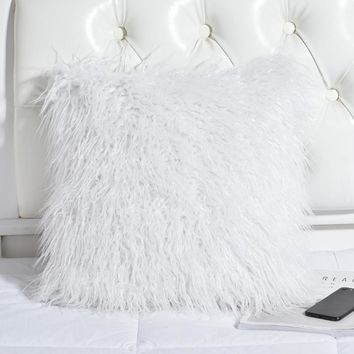 White Soft Mongolia Faux Fur Decorative Throw Pillows Cover Without Filling 45x45CM