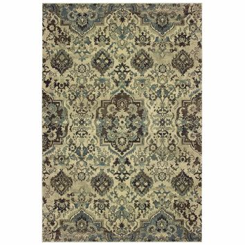 Raleigh Ivory Grey Oriental Tribal Traditional Rug