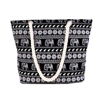 Bohemian Stripes Elephant Graphics Shoulder Beach Tote Purse Canvas Handbags Totes Bags