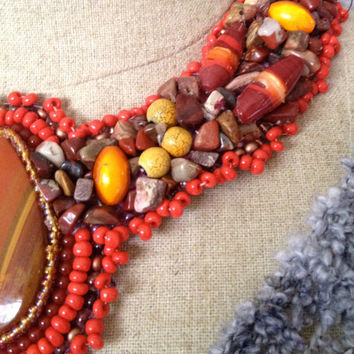 Red Jasper Cabachon, Beaded Collar, Necklace, Lampwork Beads, Yellow Beads, Orange Beads and Seed Beads, Jasper Nuggets