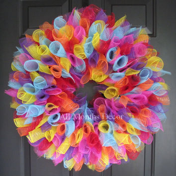 Party Birthday Deco Mesh Wreath Large