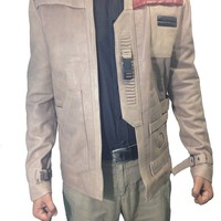 Poe Dameron Star Wars Finn Chocolate Brown Leather Jacket - Best Quality